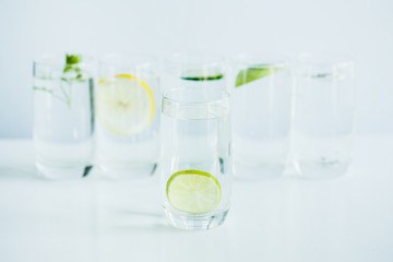 six glasses of detox water