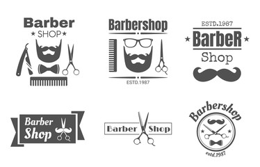 vintage barbershop badge or logo