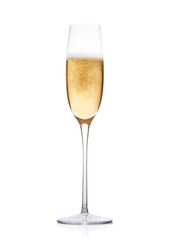 Elegant glass of yellow champagne with bubbles