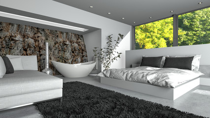 Modern luxury bedsitter with fresh white decor