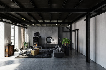 Spacious furnished room in loft style apartment