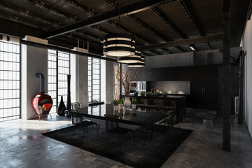 Shadowy black designer industrial loft conversion