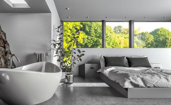 Modern luxury bedsitter or hotel bedroom