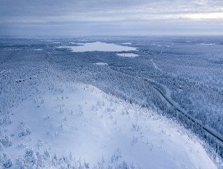 Finnish Lapland. Winter scenery. Landscape photo captured with drone above winter wonderland.