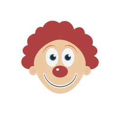 Happy clown face flat design icon