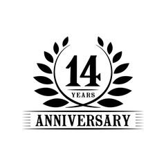 14 years anniversary logo template.