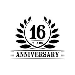 16 years anniversary logo template.