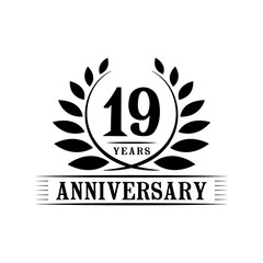 19 years anniversary logo template.