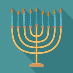 Hanukkah holiday Menora flat long shadow design icon