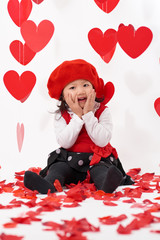 Asian baby girl happy Valentine's Day
