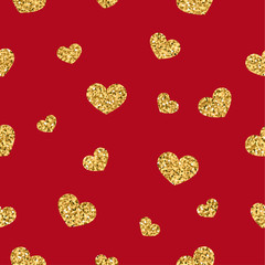 Gold heart seamless pattern. Golden chaotic confetti-hearts on red background. Symbol of love, Valentine day holiday. Design for wallpaper, fabric texture. Vector illustration