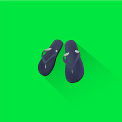 Simple Beach Sandal Icon On Green Background, Vector, Illustration, Eps File