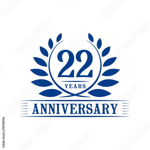 22 years anniversary logo template stock image and royalty free