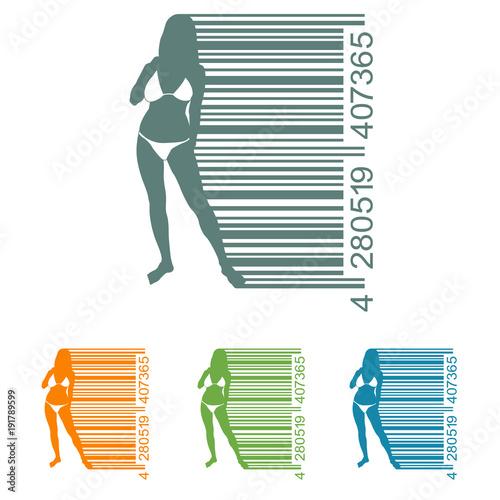 De Bikini Chica En Codigo Varios Icono Plano Barras Con Colores KT1JFcl