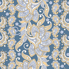 Paisley seamless pattern with flowers in indian style.