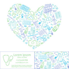 healthcare doodles shaped in heart. Vector template