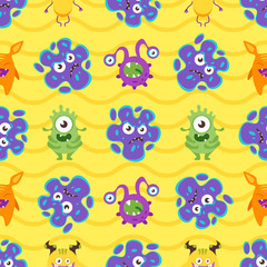 seamless pattern with colorful bacteria