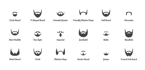 man beards and mustaches silhouettes