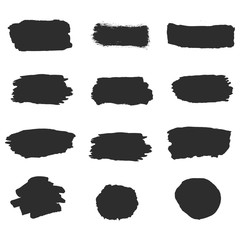 Black vector ink brush strokes of paint on white background. Set collection line or texture. Paintbrush set. Grunge design elements. Dirty texture banners. .