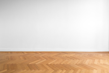 Obraz wooden parquet floor and white wall background   - fototapety do salonu