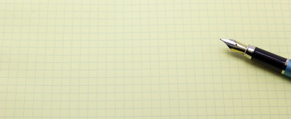 pen on a sheet of paper on a white background
