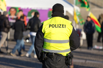 german police officer protecting a demonstration