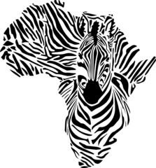 Afrika Karte- Zebra