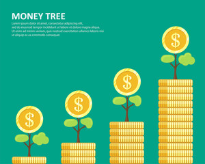 Money tree ,Money tree from a pile of Many Gold Coins , Concept for Investments - Vector illustration.