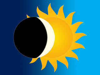 Symbolic image of the moon and of the sun on the sky background