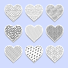 Set of  paint  hearts for Valentine's Day or weddings