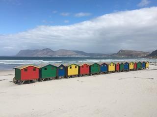 Muizenberg, Kapstadt, Strandhütte, Haus, Bunt, Strand, Beach, Sand, Sommer, Urlaub