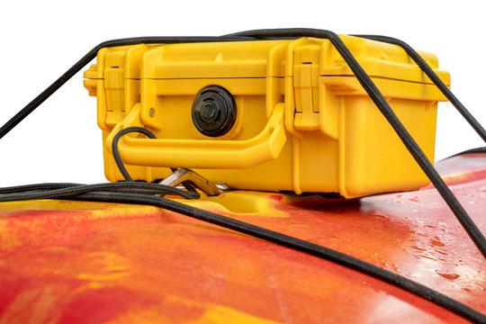 waterproof case on kayak deck