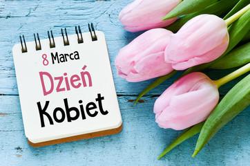 Women's day card with Polish words DZIEŃ KOBIET