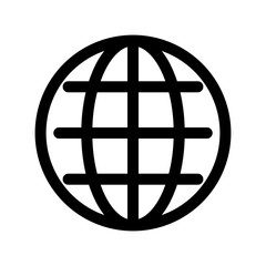 Globe symbol. Planet Earth or internet browser sign. Outline modern design element. Simple black flat vector icon with rounded corners.
