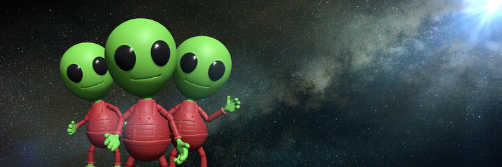three cute little alien cartoon characters in front of the Milky Way galaxy (3d illustration background banner)