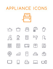 Set of Quality Isolated Universal Standard Minimal Simple Home Appliances Black Thin Line Icons on White Background