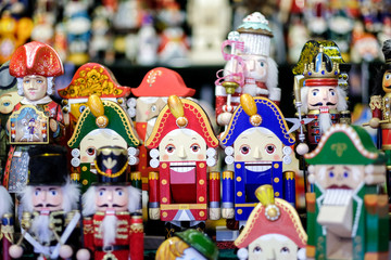 Colorful nutcrackers at a traditional Christmas market in Moscow, Russia