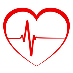 Heart pulse, one line, cardiogram - vector icon