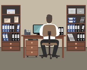 Workplace of office worker. The man is an employee at work, he is sitting at a desk. There are cabinets with folders, a computer, a phone and other objects in the picture. Vector flat illustration