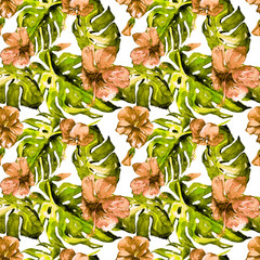 Watercolor Seamless Pattern. Hand Painted Illustration of Tropical Leaves and Flowers.Tropic Summer Motif with Hawaiian Flowers