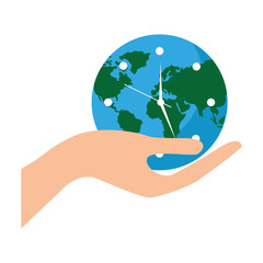 earth globe clock in hand safety concept vector illustration