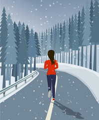 Woman run on road surrounded by forest and snow