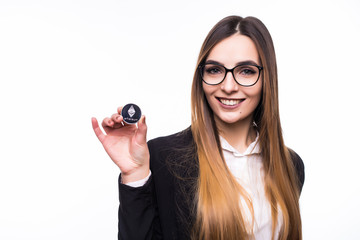 Busines woman in glasses with Litecoin in hands isolated on white background. Cryptocurrency investment concept