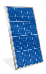Solar plate collector. Upright three-dimensional photovoltaic panel - isolated vector illustration on white background.