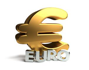 golden silver Euro symbol 3d rendering