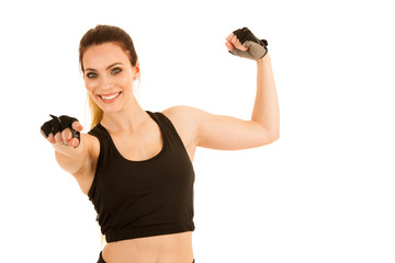 Beautiful sporty woman standing with crossed arms isolated over white background