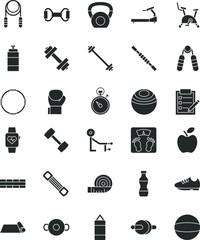 Set Of Fitness Glyph Icon Vector
