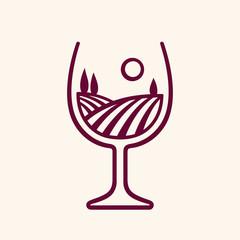 Vineyard landscape in wine glass