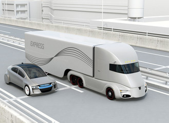 Self-driving electric semi truck and sedan driving on highway. 3D rendering image.