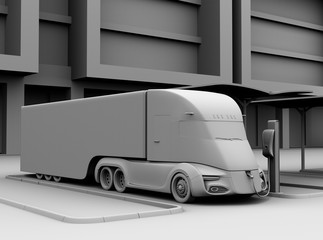 Clay model rendering of electric truck charging at charging station. 3D rendering image.
